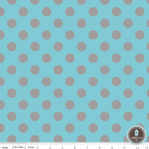 Riley Blake Medium Dots Aqua Grey