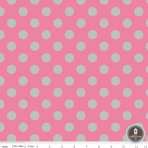 Riley Blake Medium Dots Hot Pink/Gray